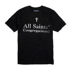 Preacher All Saints' Congregational T-Shirt Hot Topic ❤ liked on Polyvore featuring tops, t-shirts, allsaints, cotton t shirt, church t shirts and cotton tee