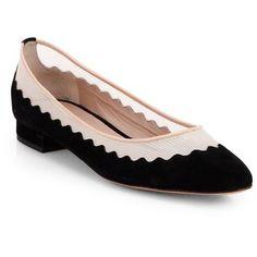 Chloe Scalloped Suede & Mesh Ballet Flats