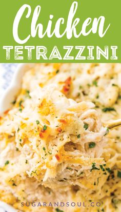 This Chicken Tetrazzini recipe is an easy cozy and delicious casserole dish! Fettuccine chicken mushrooms and peas are baked into a creamy cheese sauce with tons of flavor! It's an instant family favorite! Chicken Tetrazzini Casserole, Chicken Tetrazzini Recipes, Turkey Tetrazzini, Best Chicken Casserole, Chicken Spaghetti Casserole, Cheesy Chicken Spaghetti, Chicken Pasta Bake, Casserole Dishes, Casserole Recipes