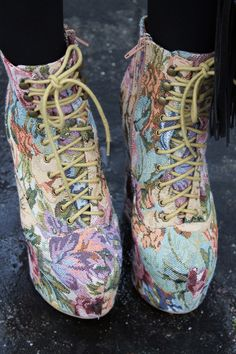 Street fashion style tips from Hollywood CA; floral inspired footwear Boho chic