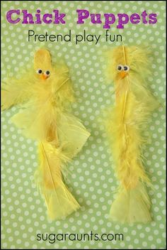 Chick puppet craft that can be used in pretend play, imagination, language development, and more.