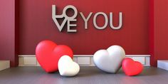love valentinesred and white heart modern room on display