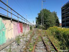 Rostige Eisenbahnschienen mit Unkraut und buntem Graffiti am Bahnhof in Münster in Westfalen im Münsterland