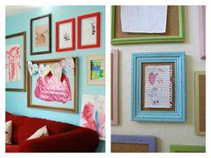 21 Ways to Display Kids Artwork - Display wall with repurposed frames & corkboard