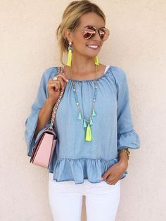 Chambray peplum top.
