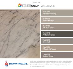 I found these colors with ColorSnap® Visualizer for iPhone by Sherwin-Williams: Intellectual Gray (SW Perfect Greige (SW Chatura Gray (SW Urbane Bronze (SW Dovetail (SW Threshold Taupe (SW Poised Taupe (SW Paint Color Schemes, Colour Pallette, Taupe Paint Colors, Interior Paint Colors For Living Room, Paint Colors For Home, Room Colors, House Colors, Wall Colors, Murs Taupe