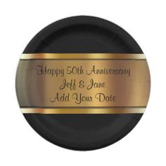 Personalized Golden 50th Anniversary Paper Plates | Wedding Custom PAPER PLATES | Pinterest | 50 anniversary Anniversaries and Wedding  sc 1 st  Pinterest & Personalized Golden 50th Anniversary Paper Plates | Wedding Custom ...