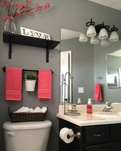 Arranging for Staging on Instagram: Add coordinating pops of color to your bathroom! This takes...