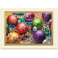 This photo affixed card is mounted against a cream matte card stock and bordered with gold foil. The image on front is filled with color! Red, green, gold, and purple ornaments shine with glittering snowflake d�cor. Matching beads surround the ornaments for some extra glimmer. This card is great for Christmas at the office!