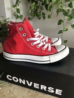 92e12e2b8ec Unisex Red high top converse Sneakers Mens 4.5 Womens 6.5  fashion   clothing  shoes
