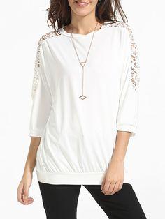 Round Neck Cotton Hollow Out Patchwork Plain Long-sleeve-t-shirt