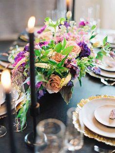 Purple Centerpiece with Black Taper Candles | Jeff Brummett Visuals | City Chic Wedding - http://heyweddinglady.com/city-chic-wedding-black-white-purple/