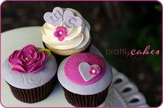 Grey/Fuschia Wedding Cupcakes