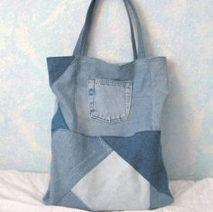 Repurposed Denim Reusable Library/Book Bag by CalliesCraftCottage, $10.00