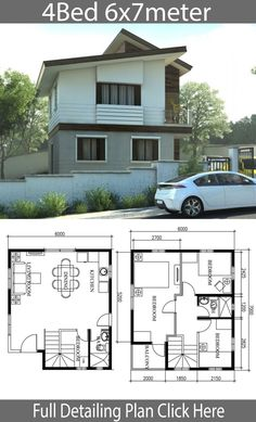 Small Home Design Plan with 4 Bedrooms – Home Ideas – House Design 2 Storey House Design, Two Storey House, Small House Design, Modern House Design, Modern Floor Plans, Modern House Plans, Small House Plans, Minimalist Architecture, Concept Architecture