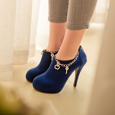 Royal Blue Charmed High Heel Booties