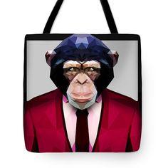 Geometric Chimpanzee Tote Bag Custom Print Tote Design Beach Bags $23.50 by Filip Aleksandrov