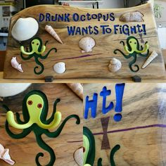 Tiki Bar Lounge carved wood sign Drunk Octopus Wants to Fight You Www.WoodSignsbyDesign.com
