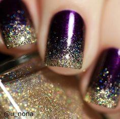 Winter purple and glitter nails Winter Nails - http://amzn.to/2iDAwtQ