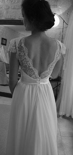 robe de mariée en mousseline de soie et dentelle de Calais
