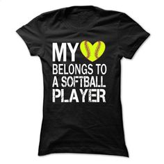 My heart belongs to a SOFTBALL player T Shirt, Hoodie, Sweatshirts - cool t shirts #shirt #clothing