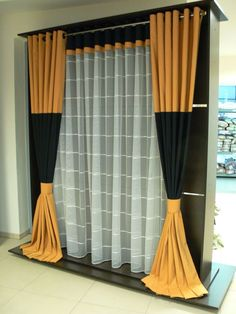 Firany-zasłony-81-2013 Home Theater Curtains, Hanging Curtains, Curtains With Blinds, Valance, Modern Curtains, Custom Drapes, Yellow Interior, Blackout Drapes, Velvet Curtains