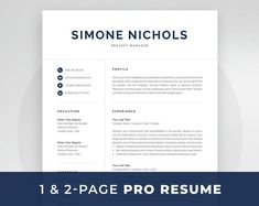 Professional Resume Template 1 and 2 Page Resume Modern CV One Page Resume Template, Modern Resume Template, Cv Template, Resume Templates, Templates Free, Cover Letter For Resume, Cover Letter Template, Letter Templates, Resume References