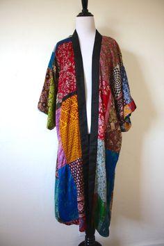 Vintage Reversible Patchwork Silk Kimono by LittleMissVintage3