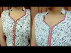 Kataria sisters Hello everyone today I will show you how to make half collar neck with beautiful lace neck designs If you like my video plz like and share SU. Chudidhar Designs, Chudidhar Neck Designs, Neck Designs For Suits, Dress Neck Designs, Collar Designs, Collar Kurti Design, Kurta Neck Design, Saree Blouse Neck Designs, Blouse Designs