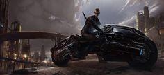 dark futuristic fantasy art science fiction motorbike