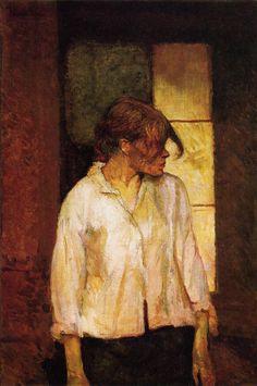 """artist-lautrec: """"At Montrouge ( Rosa la Rouge), 1887, Henri de Toulouse-Lautrec Size: 72.3x49 cm Medium: oil on canvas"""""""
