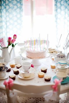 What a pretty tea party! And not a dessert buffet table in sight. via The Sweetest Occasion.