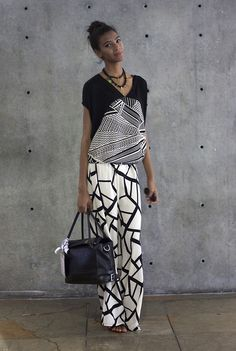 monochrome style at #Colombiamoda yesterday. love the mixing of bold prints and the loose relaxed silhouette
