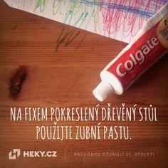 Heky.cz | Vychytávky | Jak vyčistit stůl od fixu? Použijte zubní pastu
