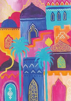 Moroccan Art, Turkish Art, Moroccan Stencil, Decoraciones Eid, Middle Eastern Art, Arabian Art, Mini Canvas Art, Colorful Artwork, Art Sketchbook