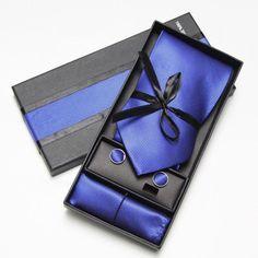 Men's Necktie Set with Matching Handkerchief and Cufflinks Gift Box - Blue