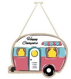 Happy Campers Burlap Door Hanger