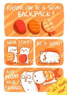 Tabeneko - Sushi Backpack by Meoon on DeviantArt Cute Food Drawings, Cute Kawaii Drawings, Cute Animal Drawings, Kawaii Art, Recipe Drawing, Sushi Cat, Chibi Food, Cute Food Art, Food Cartoon