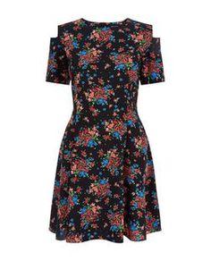Black Ditsy Floral Cold Shoulder Skater Dress | New Look