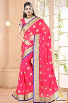Gorgeous stylish best pink georgette wedding party saree online shopping with special discount deal. Shop best online wedding and Diwali special saree online with embroidery and stone work from Nari fashion best online saree shopping at low price. #sarees, #embroiderysaree, #partywearsaree, #diwalisareecollection, #weddingwearsaree, #indiansaree, #sareewithblouse More : http://www.pavitraa.in/store/embroidery-saree/ Call / WhatsApp : +91-76982-34040  E-mail: info@pavitraa.in