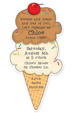 ice cream birthday party invitations | birthday party invitations, Party invitations