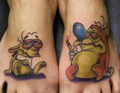 Ren & Stimpy Foot Tattoo