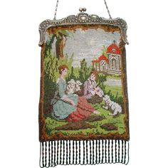 Figural / Scenic Beaded Purse, shepherd couple with manor in the background