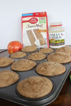 Delicious and easy Apple spice muffins are made with only 3 ingredients! I used spice cake, apple sauce and a chopped up fresh apple. A moist, filling and easy muffin to make. Muffins Blueberry, Zucchini Muffins, Easy Apple Muffins, Almond Muffins, Blueberry Cupcakes, Homemade Muffins, Healthy Muffins, Mini Muffins, Apple Recipes