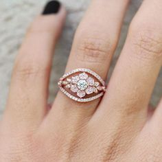 Natural Diamond Ring Unique Engagement Ring Lilly Flower