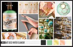 Lizzy B Loves visual + sparkle = inspiration : Art Deco Winter Glamour #wedding_inspiration #wedding_color_palette #color_palette_inspiration