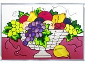 Fruit Basket - Stained Art Glass Panel - Horizontal Art Glass