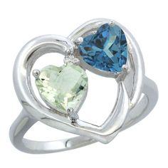14K White Gold Diamond Jewelry::2-Stone Rings