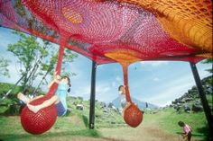 crochet playground by Toshiko Horiuchi MacAdam Crochet Art, Crochet Home, Knit Art, Kids Play Equipment, Extreme Knitting, Fun Activities For Kids, Kids Fun, Question Of The Day, Japanese Textiles