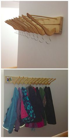 Perchero con estante hecho con perchas y madera reciclada - Recycled Coat Hanger Coat Rack organization storage woodworking decoration upcycled